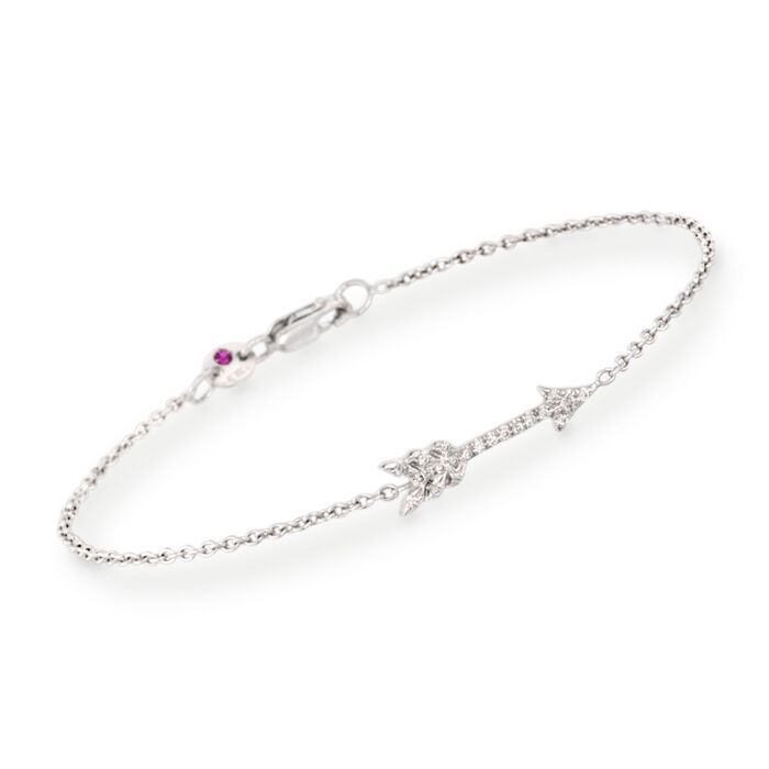 """Roberto Coin Arrow Bracelet with Diamond Accents in 18kt White Gold. 7"""", , default"""