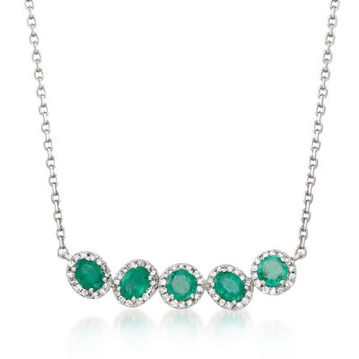 .70 ct. t.w. Emerald and .21 ct. t.w. Diamond Curved Bar Necklace in 14kt White Gold