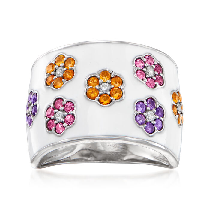 5.10 ct. t.w. Multi-Gemstone and White Enamel Flower Ring in Sterling Silver