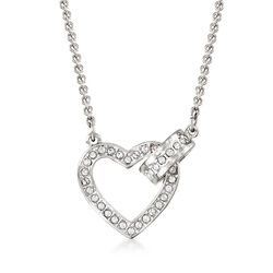"Swarovski Crystal ""Lovely"" Clear Crystal Open-Space Heart Necklace in Silvertone. 16.5"", , default"