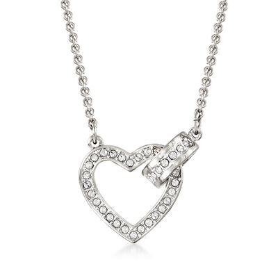 "Swarovski Crystal ""Lovely"" Clear Crystal Open-Space Heart Necklace in Silvertone, , default"