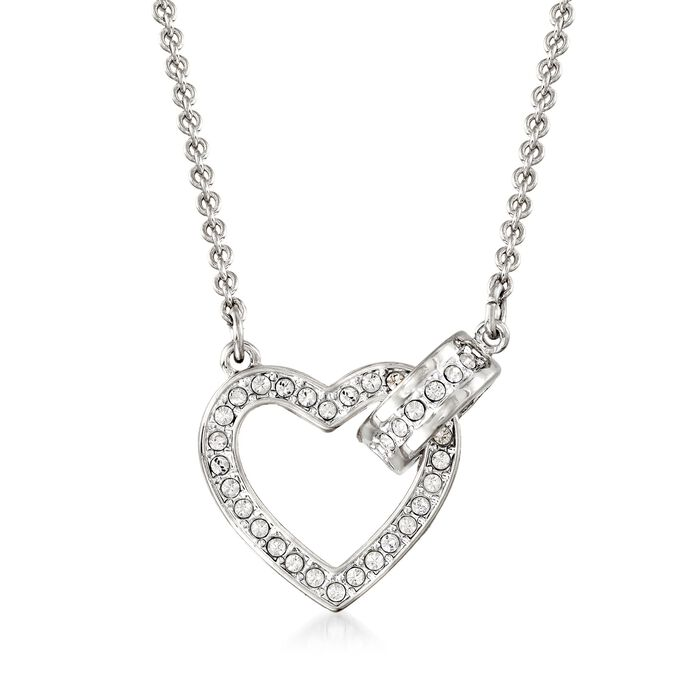 """Swarovski Crystal """"Lovely"""" Clear Crystal Open-Space Heart Necklace in Silvertone. 16.5"""", , default"""