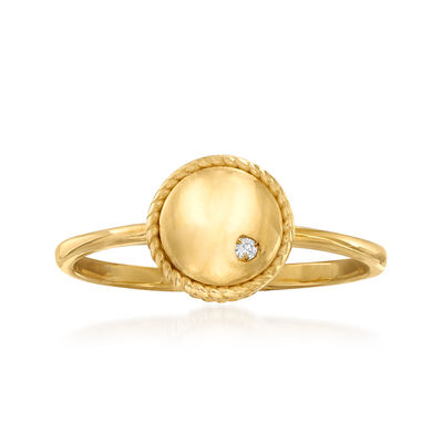 "Phillip Gavriel ""Italian Cable"" Roped-Edge Ring with Diamond Accent in 14kt Yellow Gold"