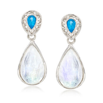 Moonstone and .40 ct. t.w. Apatite Teardrop Earrings in Sterling Silver , , default