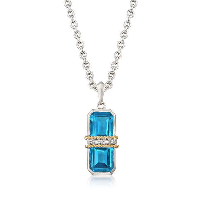 "Andrea Candela ""Ilusion"" 6.50 ct. t.w. Blue Topaz and Diamond Pendant Necklace in 18kt Gold and Sterling, , default"