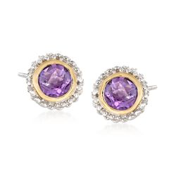 "Phillip Gavriel ""Popcorn"" .72 ct. t.w. Amethyst Stud Earrings in Sterling Silver and 18kt Gold , , default"