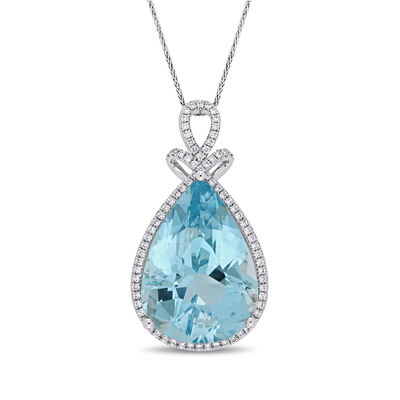20.00 Carat Blue Topaz and .41 ct. t.w. Diamond Pendant Necklace in 14kt White Gold, , default