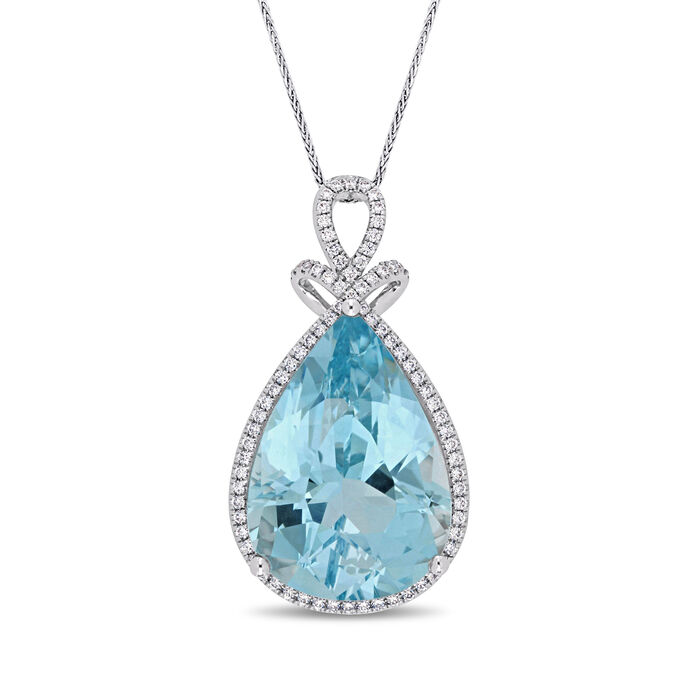 20.00 Carat Blue Topaz and .41 ct. t.w. Diamond Pendant Necklace in 14kt White Gold. 17""