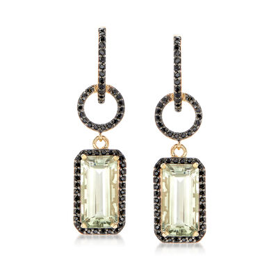 8.00 ct. t.w. Green Prasiolite and 1.00 ct. t.w. Black Spinel Drop Earrings in 18kt Gold Over Sterling