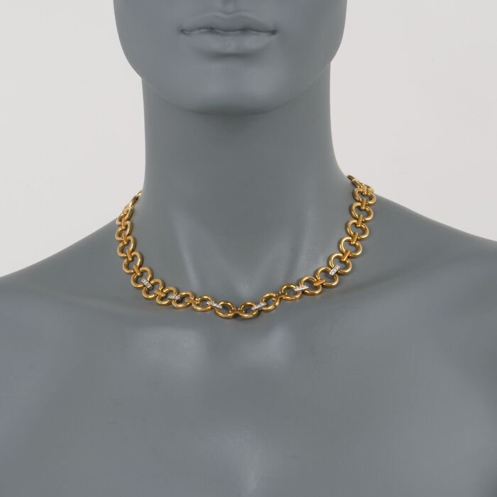 """C. 1980 Vintage .40 ct. t.w. Diamond Necklace in 18kt Two-Tone Gold. 16.25"""", , default"""