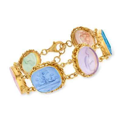 Italian Multicolored Venetian Glass Bracelet in 18kt Gold Over Sterling #925513