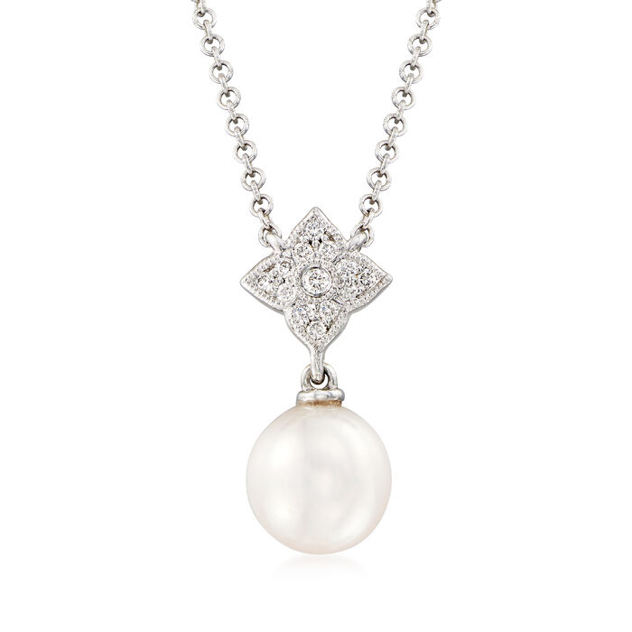 Gabriel Designs 7.25mm Cultured Pearl Necklace in 14kt White Gold