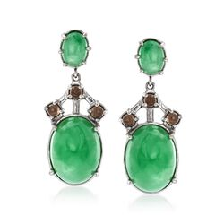 Green Jade and .90 ct. t.w. Smoky Quartz Drop Earrings in Sterling Silver, , default
