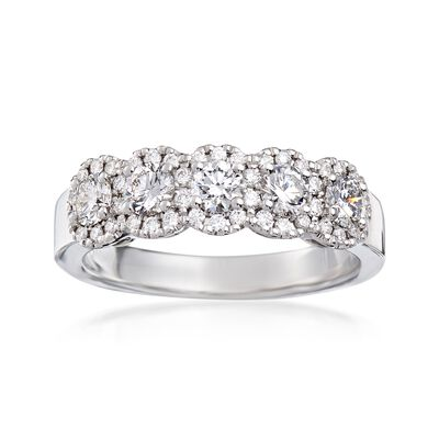 Henri Daussi .90 ct. t.w. Five-Stone Diamond Ring in 18kt White Gold