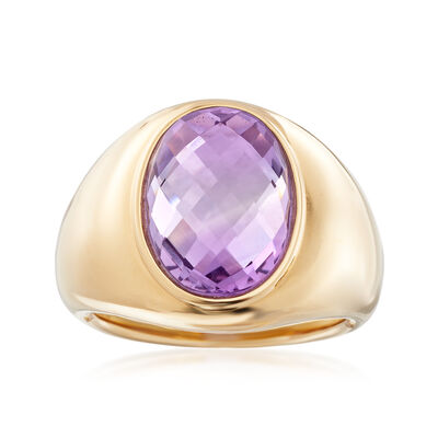 6.00 Carat Amethyst Ring in 14kt Yellow Gold, , default