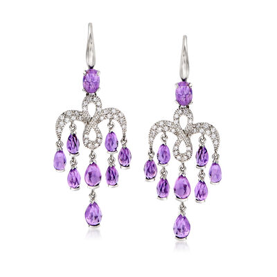 C. 2000 Vintage Mimi Milano 5.50 ct. t.w. Amethyst and .40 ct. t.w. Diamond Chandelier Earrings in 18kt White Gold