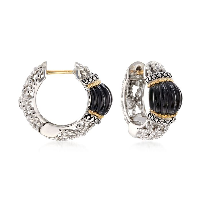 "Andrea Candela ""La Corona"" Black Onyx Hoop Earrings in 18kt Yellow Gold and Sterling Silver. 5/8"", , default"