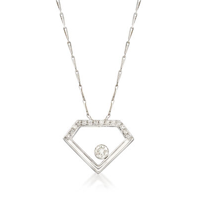 .34 ct. t.w. Diamond Open-Space Diamond Pendant Necklace in 14kt White Gold, , default