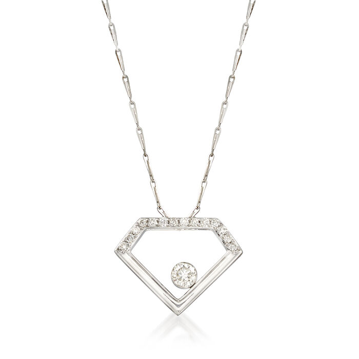 .34 ct. t.w. Diamond Open-Space Diamond Pendant Necklace in 14kt White Gold. 18""
