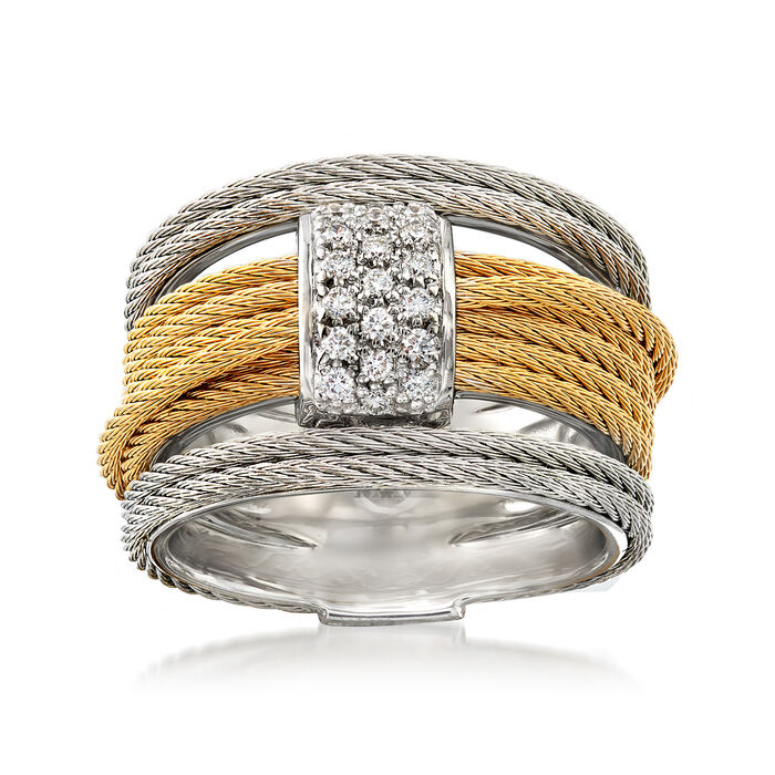 "ALOR ""Classique"" .16 ct. t.w. Diamond Two-Tone Cable Ring with 18kt White Gold"