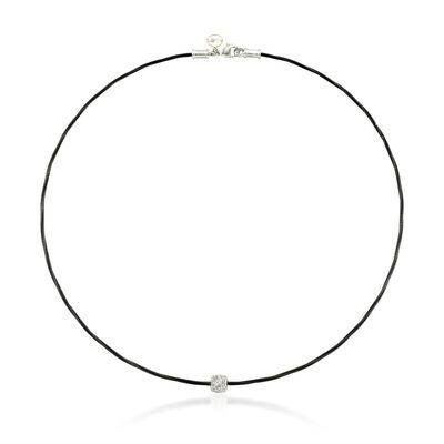 "ALOR ""Noir"" Diamond Station Black Cable Necklace with 18kt Two-Tone Gold, , default"
