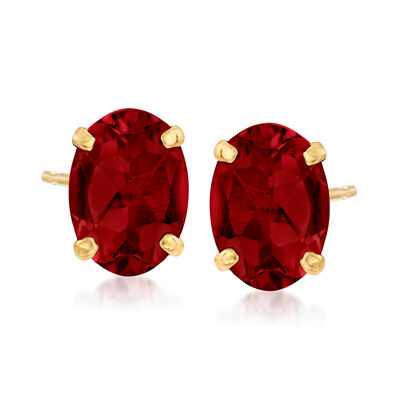 2.10 ct. t.w. Garnet Oval Stud Earrings in 14kt Yellow Gold, , default