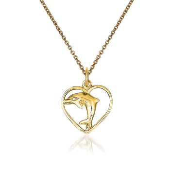 "14kt Yellow Gold Dolphin in Heart Pendant Necklace. 18"", , default"