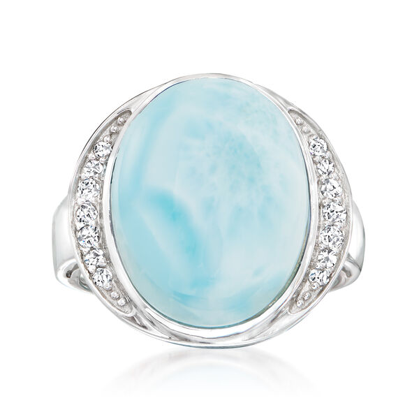 Larimar and .20 ct. t.w. White Topaz Ring in Sterling Silver #931711