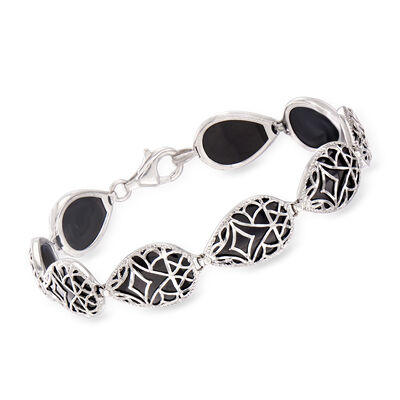 16x10mm Black Onyx Bracelet in Sterling Silver, , default