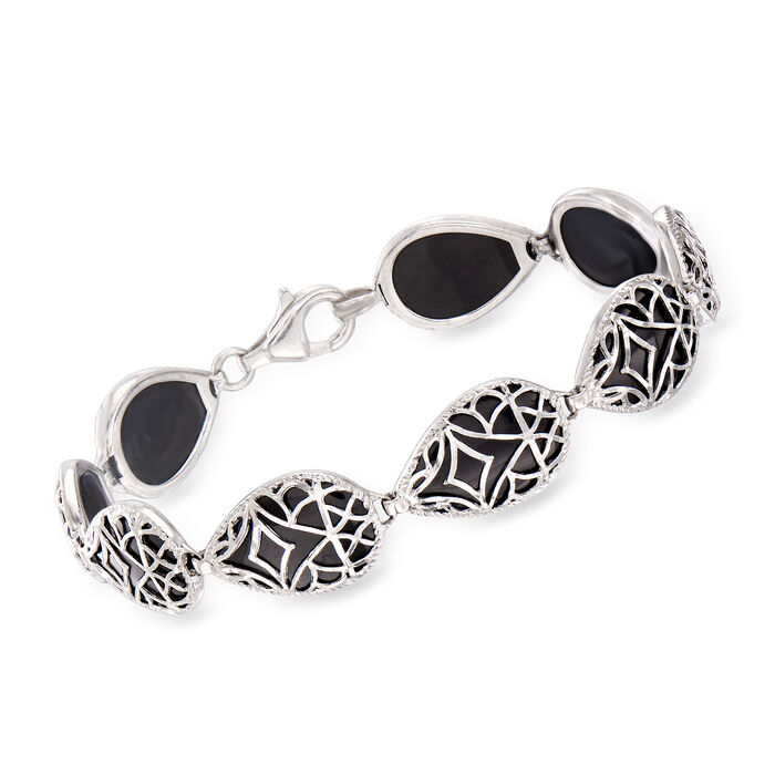 "16x10mm Black Onyx Bracelet in Sterling Silver. 7"", , default"