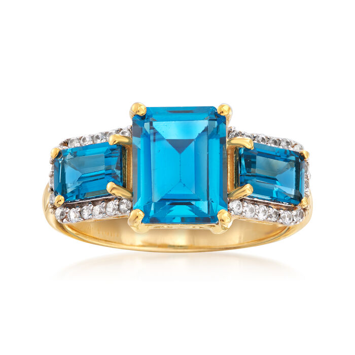 3.10 ct. t.w. London Blue Topaz and .20 ct. t.w. White Topaz Ring in 18kt Gold Over Sterling, , default