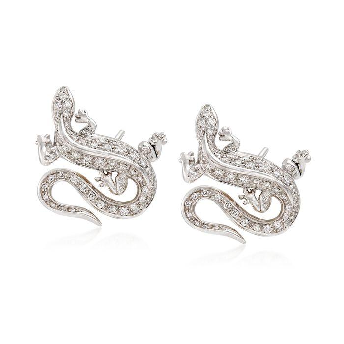 C. 1990 Vintage Tiffany Jewelry .75 ct. t.w. Diamond Lizard Earrings in Platinum , , default