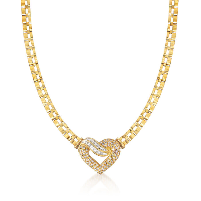 C. 1980 Vintage 2.75 ct. t.w. Diamond Heart Necklace in 18kt Yellow Gold