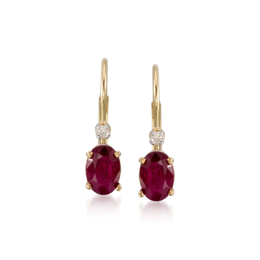 1 10 Ct T W Ruby Earrings With Diamonds In 14kt Yellow Gold