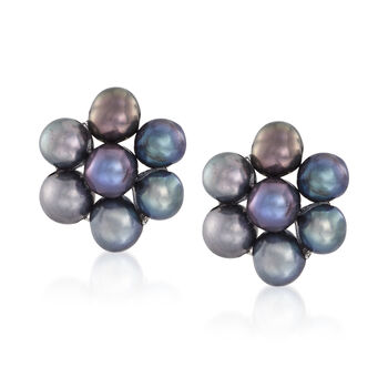 3-4mm Multicolored Cultured Pearl Jewelry Set: Three Pairs of Earrings in 14kt Yellow Gold, , default