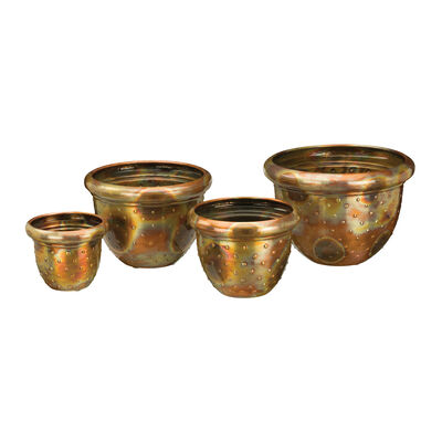 Regal Set of 4 Flamed Dots Outdoor Nesting Planters, , default