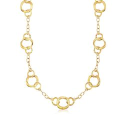 Italian Andiamo 14kt Yellow Gold Mixed Link Necklace, , default