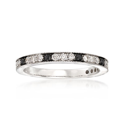 .47 ct. t.w. Black and White Diamond Band in 14kt White Gold