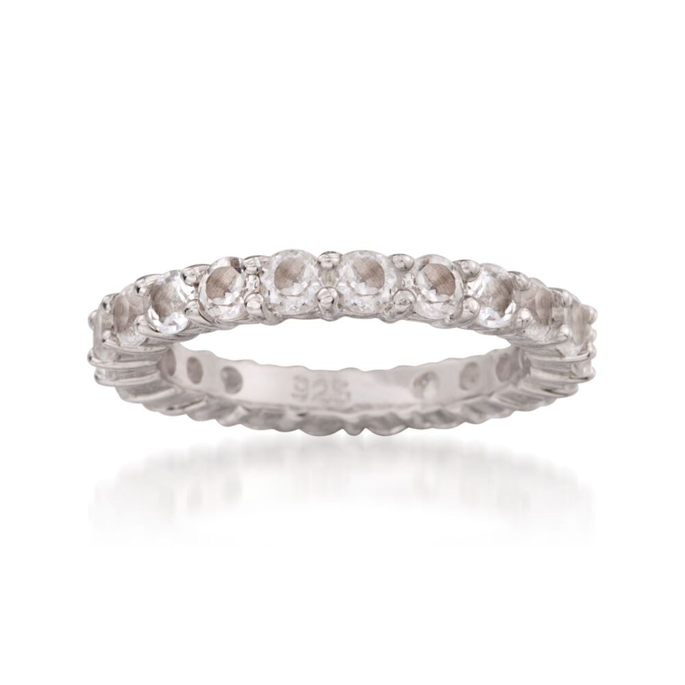 T W White Topaz Eternity Band Ring In Sterling Silver Default