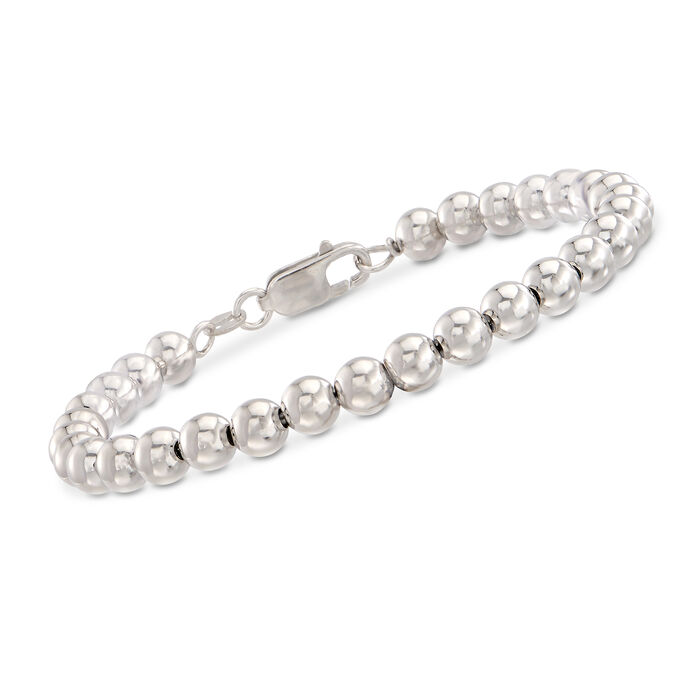 Sterling Silver Bead Bracelet with .10 ct. t.w. Diamond Single Initial Charm