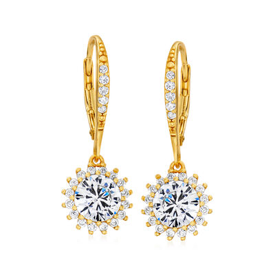 3.10 ct. t.w. CZ Flower Drop Earrings in 18kt Gold Over Sterling, , default