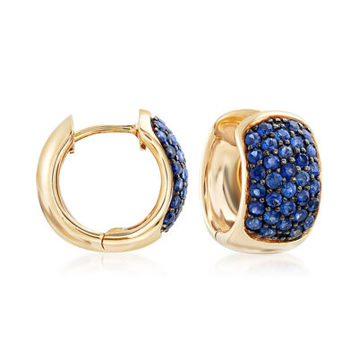 1.20 ct. t.w. Sapphire Huggie Hoop Earrings in 14kt Yellow Gold , , default