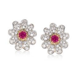 C. 1960 Vintage 1.00 ct. t.w. Ruby and 1.00 ct. t.w. Diamond Floral Earrings in 14kt Two-Tone Gold, , default