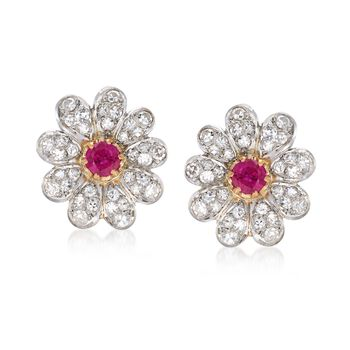 C. 1960 Vintage 1.00 ct. t.w. Ruby and 1.00 ct. t.w. Diamond Floral Earrings in 14kt Two-Tone Gold , , default
