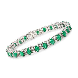11.00 ct. t.w. Emerald and 2.20 ct. t.w. Diamond Bracelet in 14kt White Gold, , default