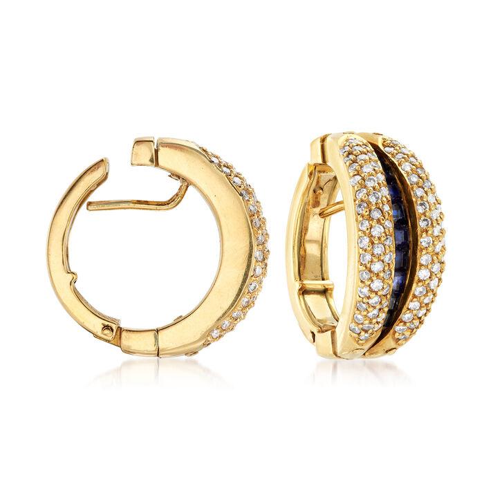 "C. 1990 Vintage 1.50 ct. t.w. Diamond Double-Hoop Earrings with Hidden Sapphires in 18kt Gold. 5/8"""