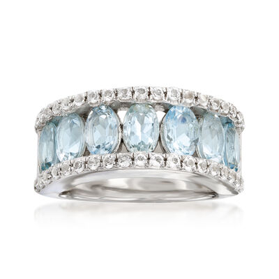 2.80 ct. t.w. Aquamarine and .80 ct. t.w. White Topaz Ring in Sterling Silver, , default