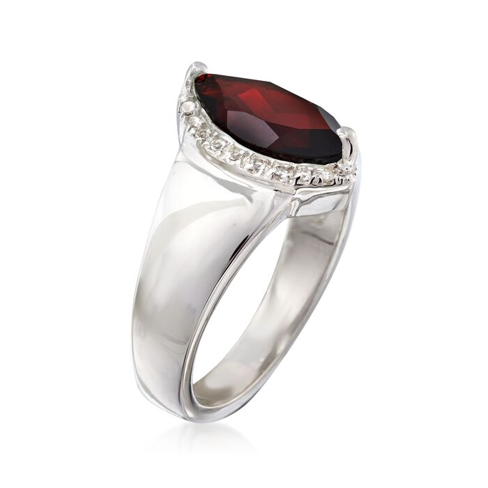 1.80 Carat Marquise-Shaped Garnet Ring with White Topaz Accents in Sterling Silver