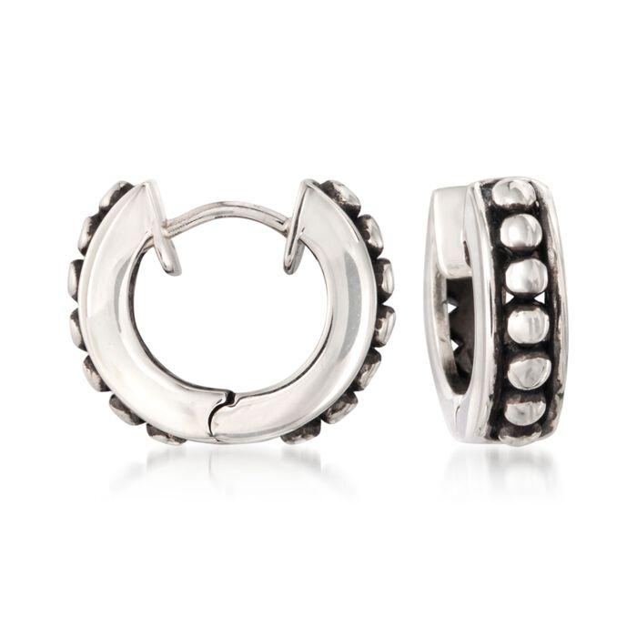 """Zina Sterling Silver Beaded Hoop Earrings. 1/2"""""""