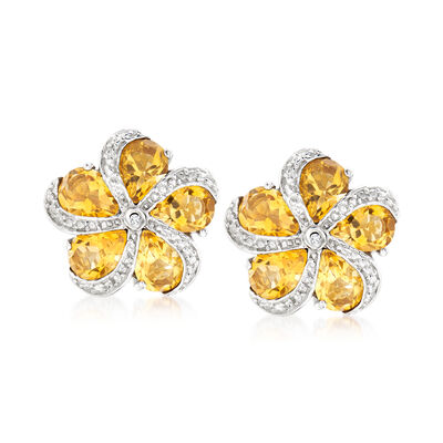 6.00 ct. t.w. Citrine Flower Earrings with White Zircon Accents in Sterling Silver